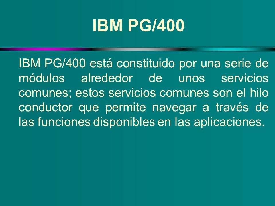 IBM PG/400 IBM PG/400 está constituido por una serie de módulos alrededor de unos servicios comunes; estos servicios comunes son el hilo conductor que