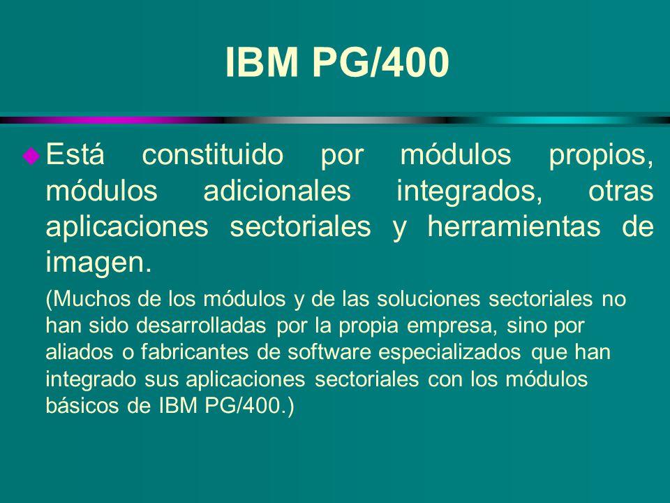 IBM PG/400 u Está constituido por módulos propios, módulos adicionales integrados, otras aplicaciones sectoriales y herramientas de imagen. (Muchos de