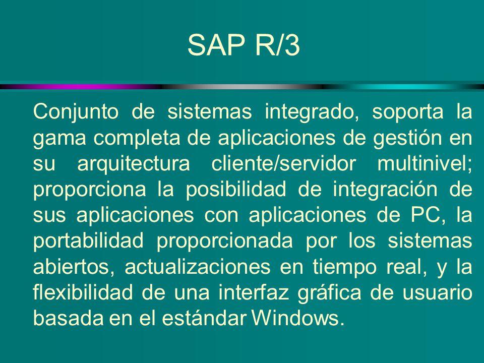SAP R/3 Conjunto de sistemas integrado, soporta la gama completa de aplicaciones de gestión en su arquitectura cliente/servidor multinivel; proporcion