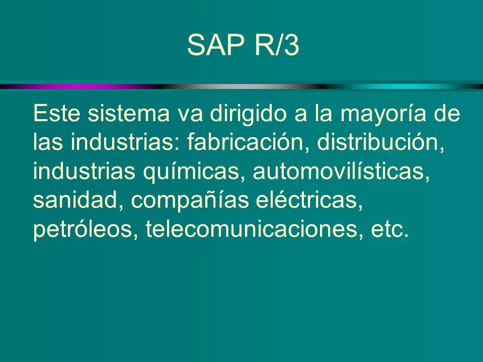 SAP R/3 Este sistema va dirigido a la mayoría de las industrias: fabricación, distribución, industrias químicas, automovilísticas, sanidad, compañías