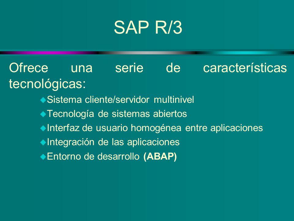 SAP R/3 Ofrece una serie de características tecnológicas: u Sistema cliente/servidor multinivel u Tecnología de sistemas abiertos u Interfaz de usuari