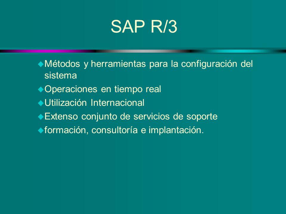 SAP R/3 u Métodos y herramientas para la configuración del sistema u Operaciones en tiempo real u Utilización Internacional u Extenso conjunto de serv