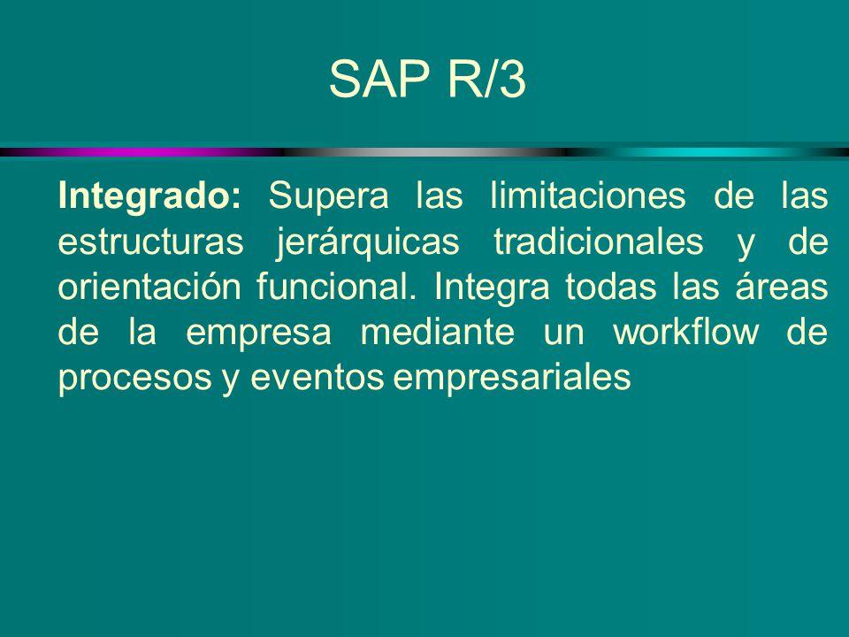 SAP R/3 Integrado: Supera las limitaciones de las estructuras jerárquicas tradicionales y de orientación funcional. Integra todas las áreas de la empr