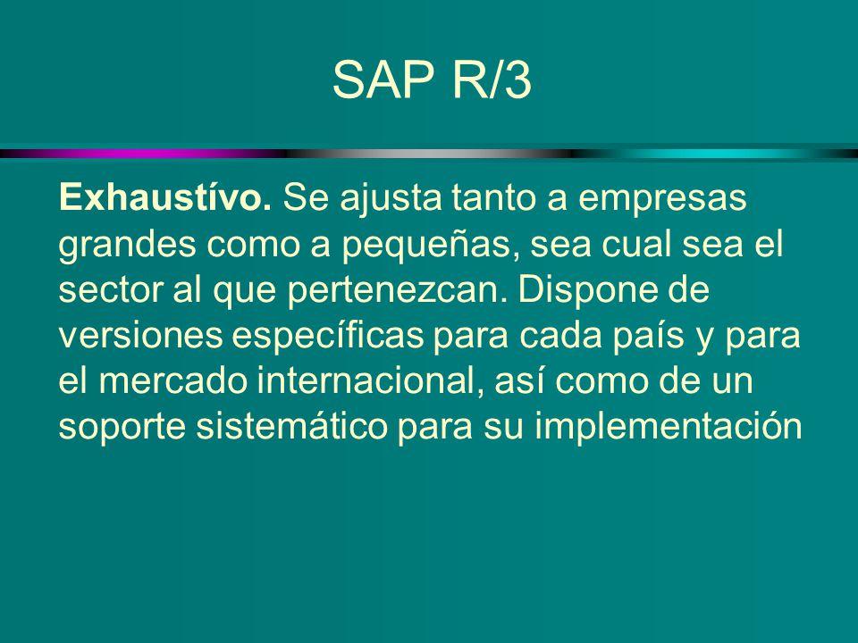 SAP R/3 Exhaustívo. Se ajusta tanto a empresas grandes como a pequeñas, sea cual sea el sector al que pertenezcan. Dispone de versiones específicas pa