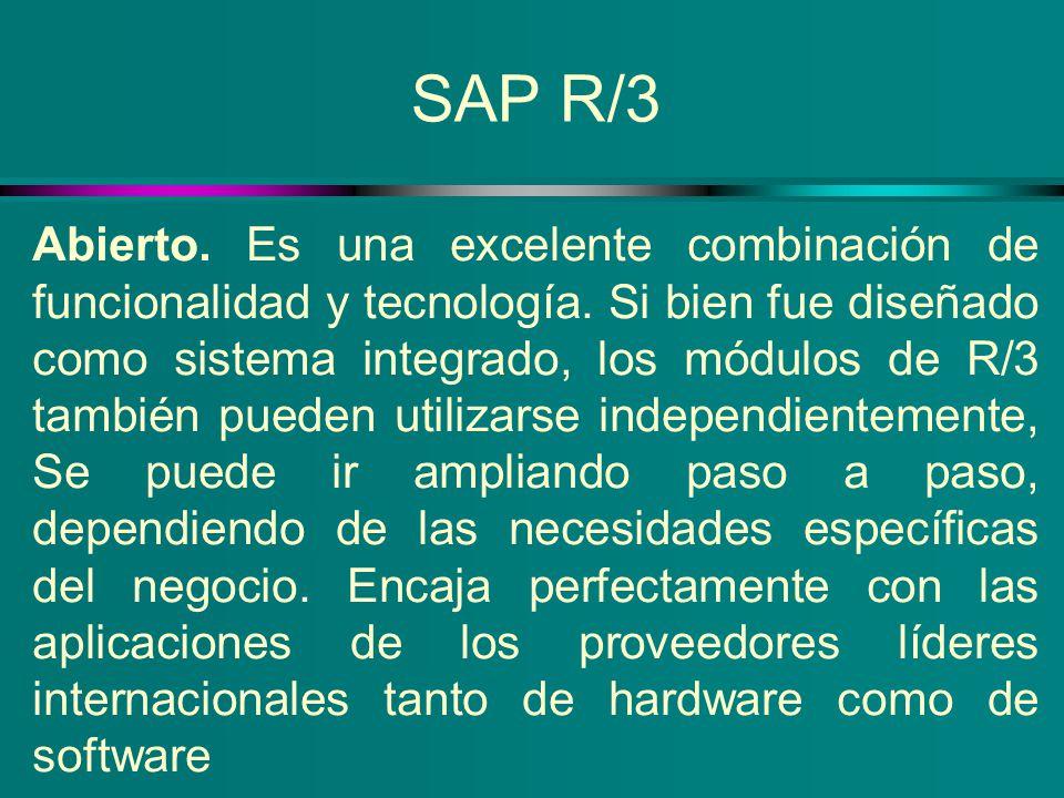 SAP R/3 Abierto. Es una excelente combinación de funcionalidad y tecnología. Si bien fue diseñado como sistema integrado, los módulos de R/3 también p