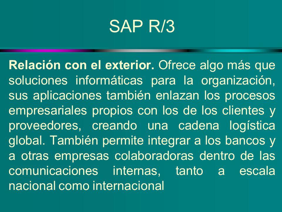 SAP R/3 Relación con el exterior. Ofrece algo más que soluciones informáticas para la organización, sus aplicaciones también enlazan los procesos empr