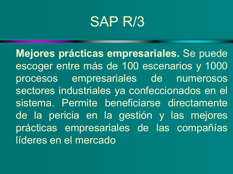 SAP R/3 Mejores prácticas empresariales. Se puede escoger entre más de 100 escenarios y 1000 procesos empresariales de numerosos sectores industriales