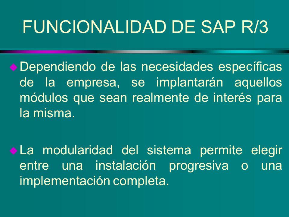 FUNCIONALIDAD DE SAP R/3 u Dependiendo de las necesidades específicas de la empresa, se implantarán aquellos módulos que sean realmente de interés par