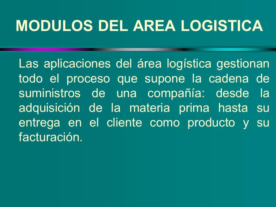 MODULOS DEL AREA LOGISTICA Las aplicaciones del área logística gestionan todo el proceso que supone la cadena de suministros de una compañía: desde la