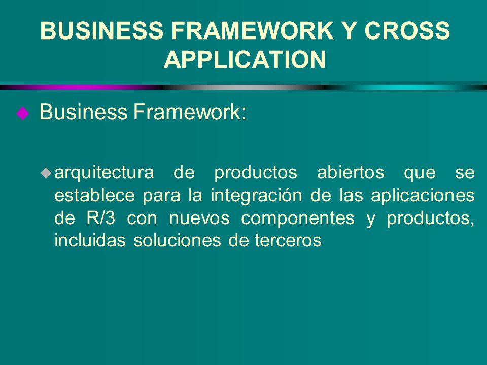 BUSINESS FRAMEWORK Y CROSS APPLICATION u Business Framework: u arquitectura de productos abiertos que se establece para la integración de las aplicaci