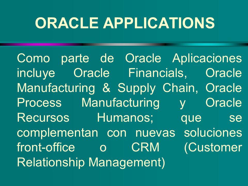 Como parte de Oracle Aplicaciones incluye Oracle Financials, Oracle Manufacturing & Supply Chain, Oracle Process Manufacturing y Oracle Recursos Human