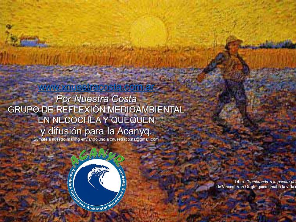 www.xnuestracosta.com.ar Por Nuestra Costa GRUPO DE REFLEXIÓN MEDIOAMBIENTAL EN NECOCHEA Y QUEQUÉN y difusión para la Acanyq. Sumate a nuestro mailing