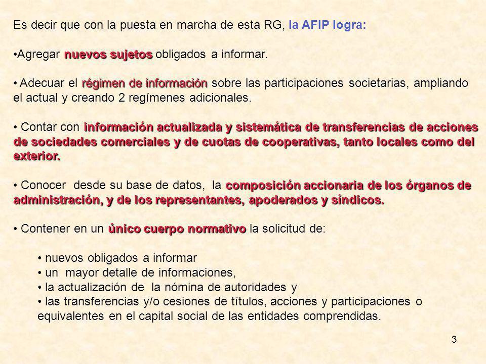 3 Es decir que con la puesta en marcha de esta RG, la AFIP logra: nuevos sujetosAgregar nuevos sujetos obligados a informar.