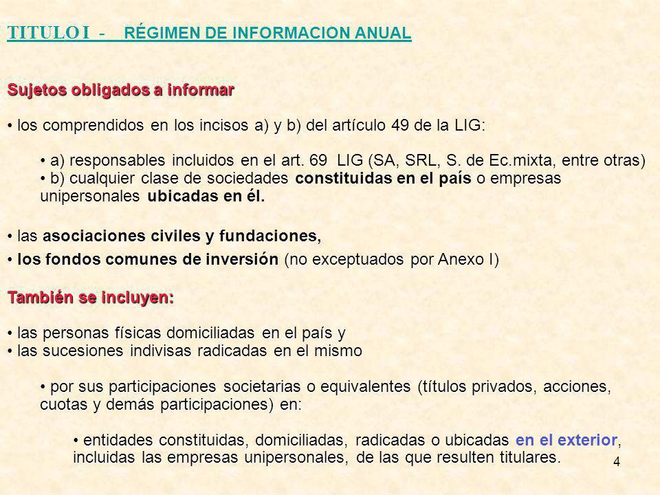 4 TITULO I - RÉGIMEN DE INFORMACION ANUAL Sujetos obligados a informar comprendidos en los incisos a) y b) del artículo 49 los comprendidos en los incisos a) y b) del artículo 49 de la LIG: a) responsables incluidos en el art.