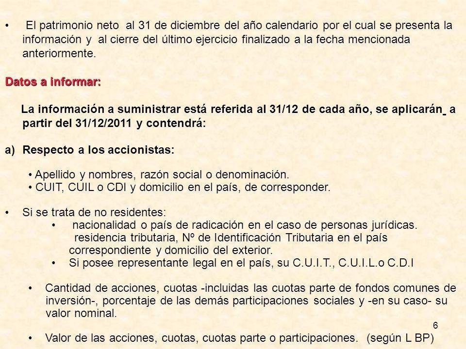 6 El patrimonio neto al 31 de diciembre del año calendario por el cual se presenta la información y al cierre del último ejercicio finalizado a la fecha mencionada anteriormente.