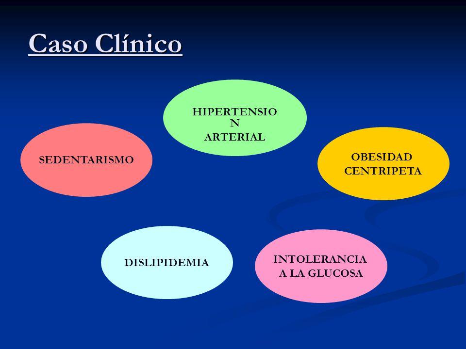 Caso Clínico DISLIPIDEMIA OBESIDAD CENTRIPETA SEDENTARISMO INTOLERANCIA A LA GLUCOSA HIPERTENSIO N ARTERIAL