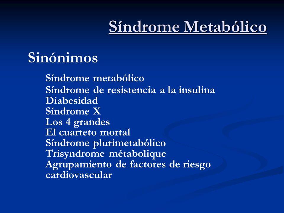Sinónimos Síndrome metabólico Síndrome de resistencia a la insulina Diabesidad Síndrome X Los 4 grandes El cuarteto mortal Síndrome plurimetabólico Tr