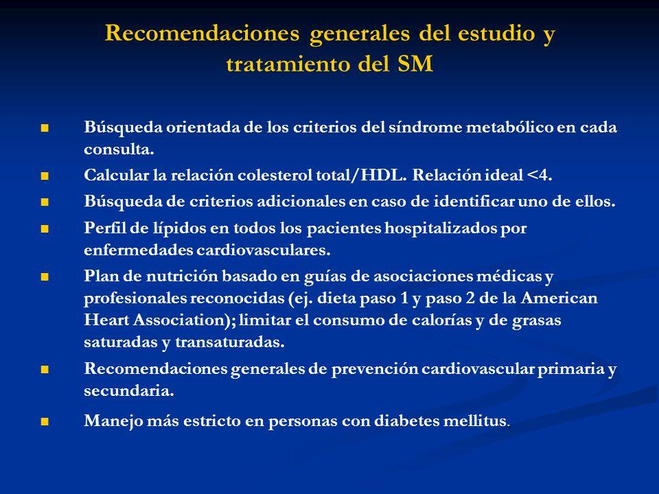 Recomendaciones generales del estudio y tratamiento del SM Búsqueda orientada de los criterios del síndrome metabólico en cada consulta. Calcular la r