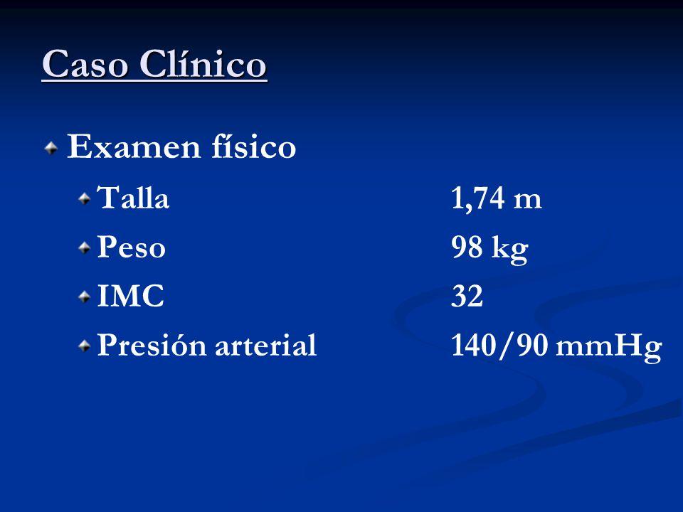 Caso Clínico Examen físico Talla1,74 m Peso98 kg IMC32 Presión arterial150/85 mmHg Perímetro de cintura131 cm Perímetro de cadera110 cm