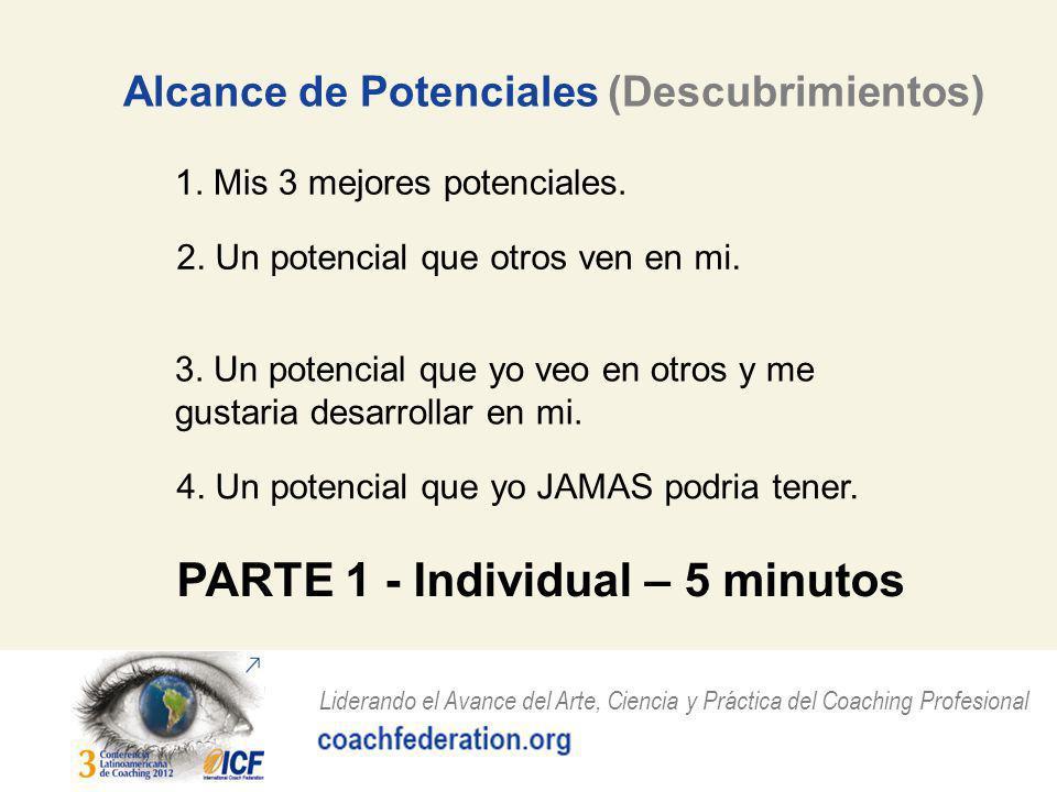 Liderando el Avance del Arte, Ciencia y Práctica del Coaching Profesional Alcance de Potenciales (Descubrimientos) 1.
