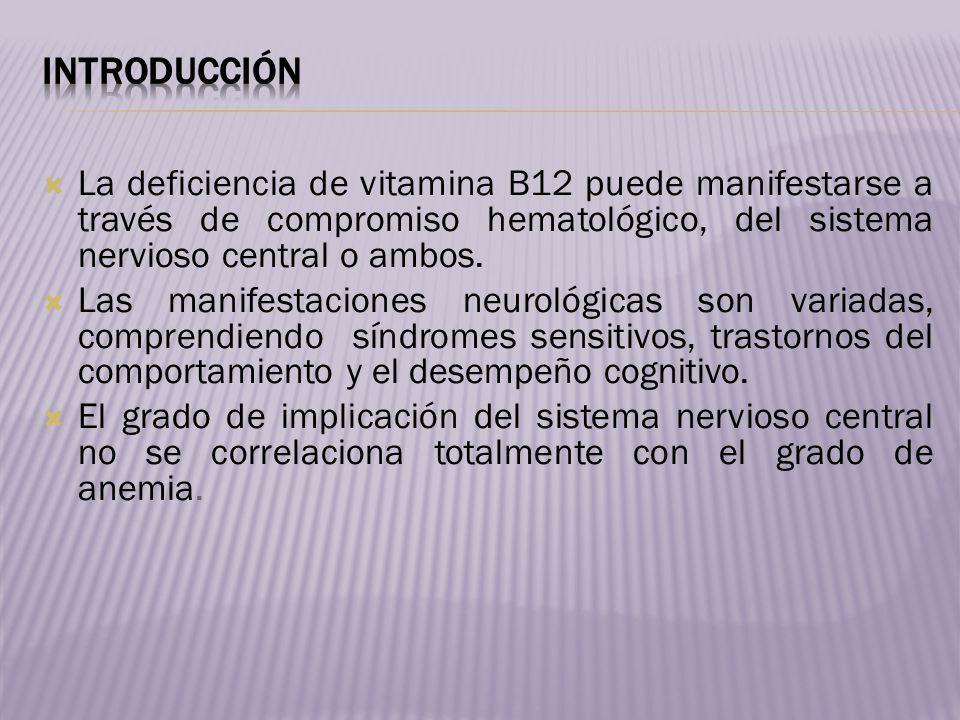 La deficiencia de vitamina B12 puede manifestarse a través de compromiso hematológico, del sistema nervioso central o ambos. Las manifestaciones neuro