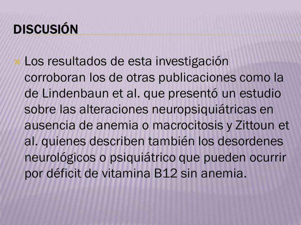 Debido a que déficit de vitamina B12 puede manifestarse de múltiples maneras y en algunos casos con gran severidad y dejar secuelas permanentes, creemos que se debe tener cuenta el déficit de B12 ante cualquier patología neurológica a pesar de ocurrir sin la presencia de anemia o elevación VCM.