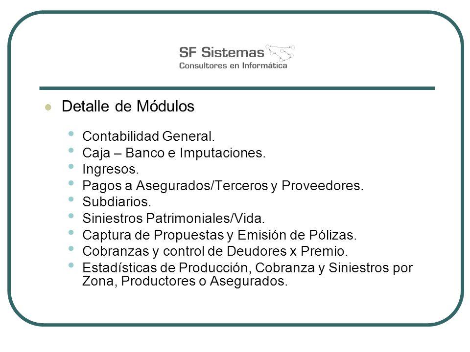 Detalle de Módulos Contabilidad General. Caja – Banco e Imputaciones. Ingresos. Pagos a Asegurados/Terceros y Proveedores. Subdiarios. Siniestros Patr