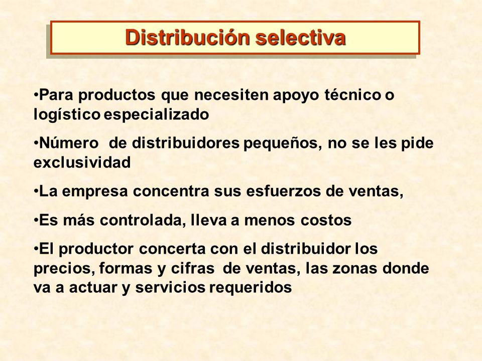Para productos que necesiten apoyo técnico o logístico especializado Número de distribuidores pequeños, no se les pide exclusividad La empresa concent