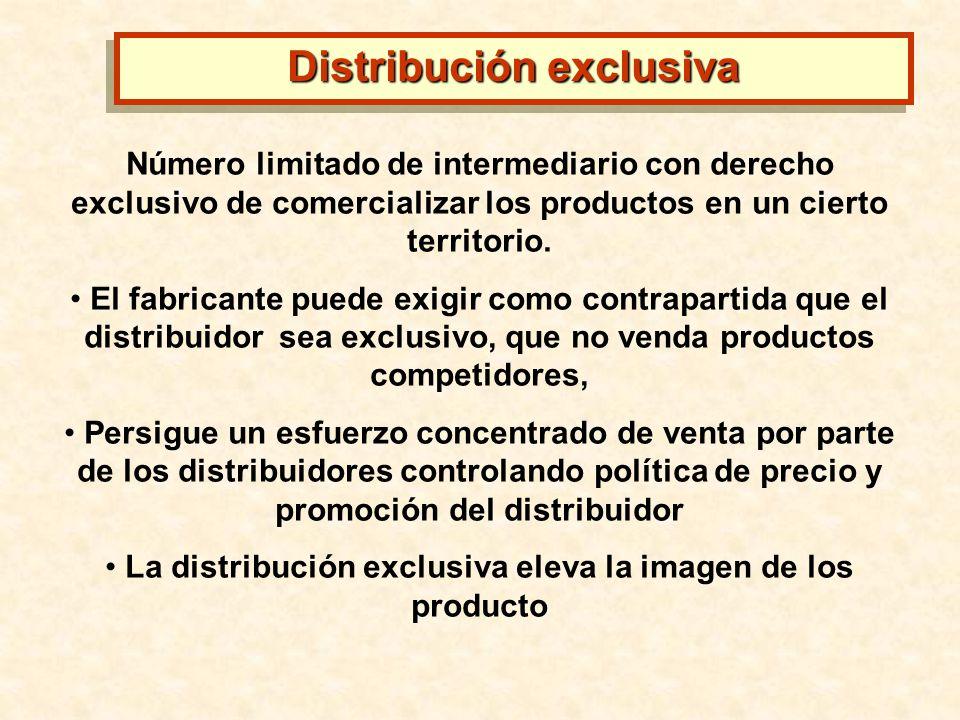 Número limitado de intermediario con derecho exclusivo de comercializar los productos en un cierto territorio. El fabricante puede exigir como contrap