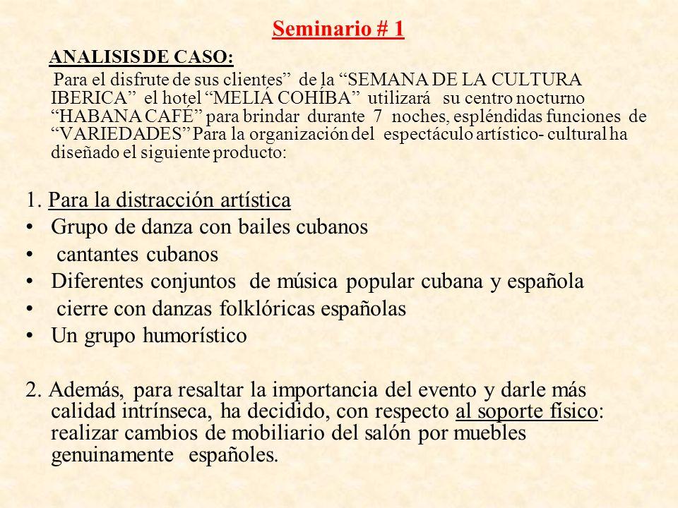 Seminario # 1 ANALISIS DE CASO: Para el disfrute de sus clientes de la SEMANA DE LA CULTURA IBERICA el hotel MELIÁ COHÍBA utilizará su centro nocturno