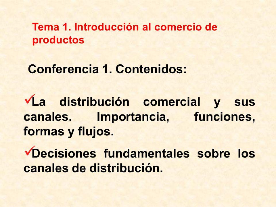 La distribución comercial y sus canales. Importancia, funciones, formas y flujos. Decisiones fundamentales sobre los canales de distribución. Tema 1.