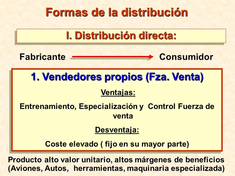 l. Distribución directa: ) Fabricante Consumidor 1. Vendedores propios (Fza. Venta) Ventajas: Entrenamiento, Especialización y Control Fuerza de venta