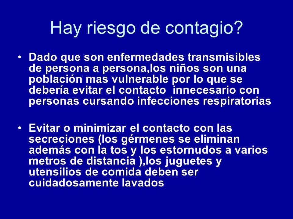 Hay riesgo de contagio? Dado que son enfermedades transmisibles de persona a persona,los niños son una población mas vulnerable por lo que se debería