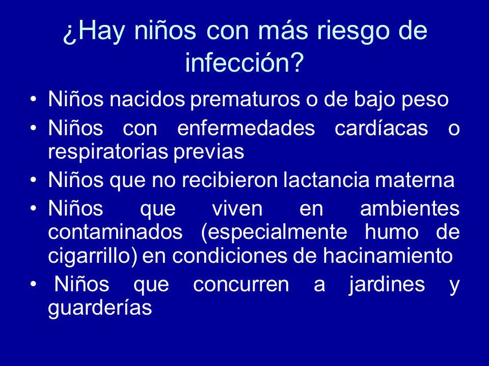 ¿Hay niños con más riesgo de infección? Niños nacidos prematuros o de bajo peso Niños con enfermedades cardíacas o respiratorias previas Niños que no
