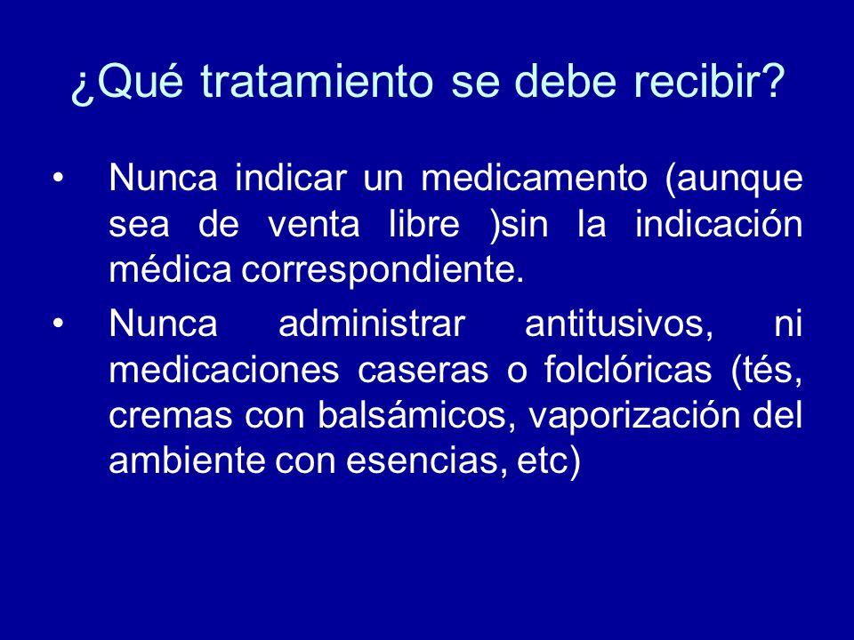 ¿Qué tratamiento se debe recibir? Nunca indicar un medicamento (aunque sea de venta libre )sin la indicación médica correspondiente. Nunca administrar