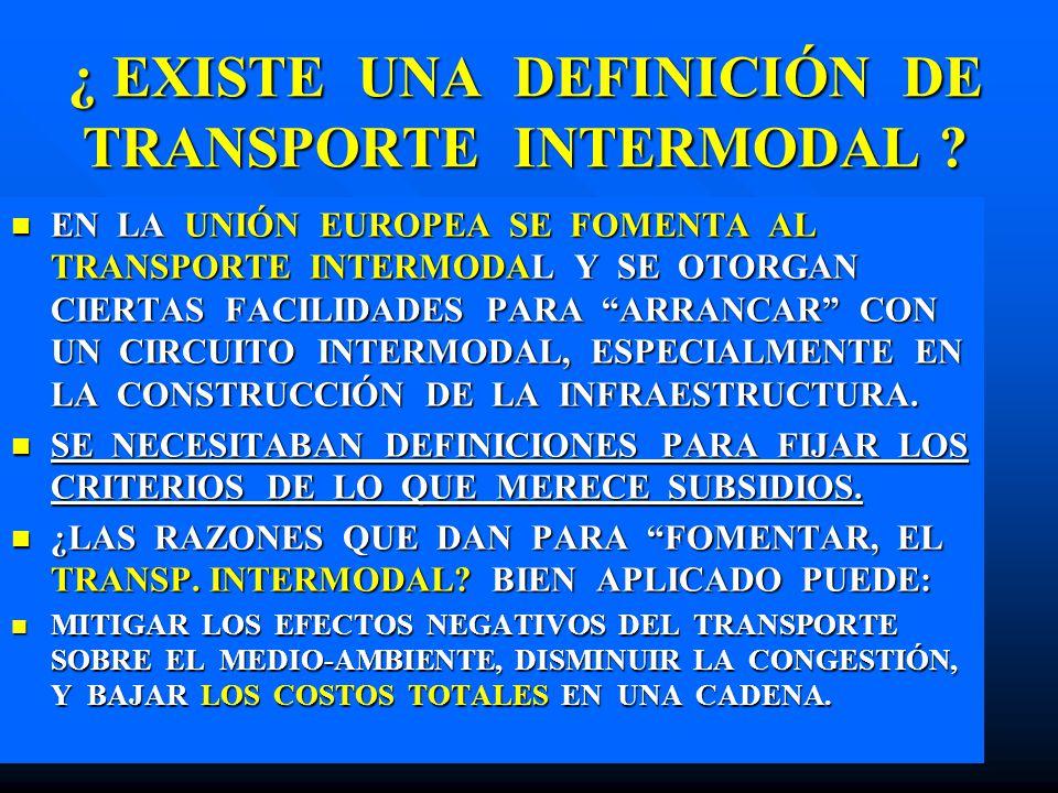 ¿ EXISTE UNA DEFINICIÓN DE TRANSPORTE INTERMODAL ? EN LA UNIÓN EUROPEA SE FOMENTA AL TRANSPORTE INTERMODAL Y SE OTORGAN CIERTAS FACILIDADES PARA ARRAN