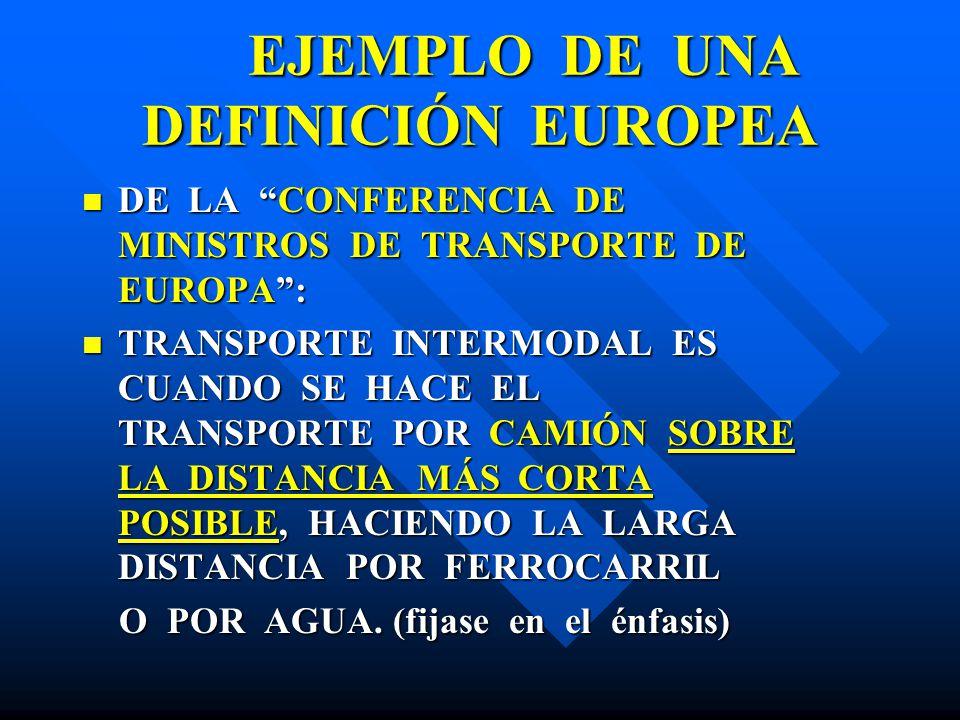 EJEMPLO DE UNA DEFINICIÓN EUROPEA EJEMPLO DE UNA DEFINICIÓN EUROPEA DE LA CONFERENCIA DE MINISTROS DE TRANSPORTE DE EUROPA: DE LA CONFERENCIA DE MINIS