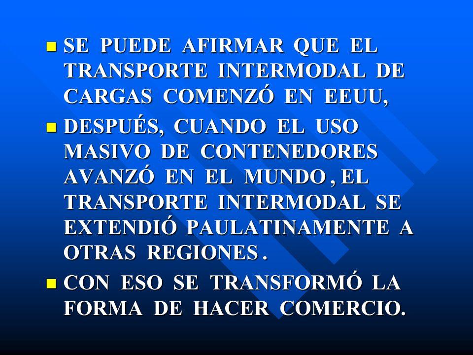 SE PUEDE AFIRMAR QUE EL TRANSPORTE INTERMODAL DE CARGAS COMENZÓ EN EEUU, SE PUEDE AFIRMAR QUE EL TRANSPORTE INTERMODAL DE CARGAS COMENZÓ EN EEUU, DESP