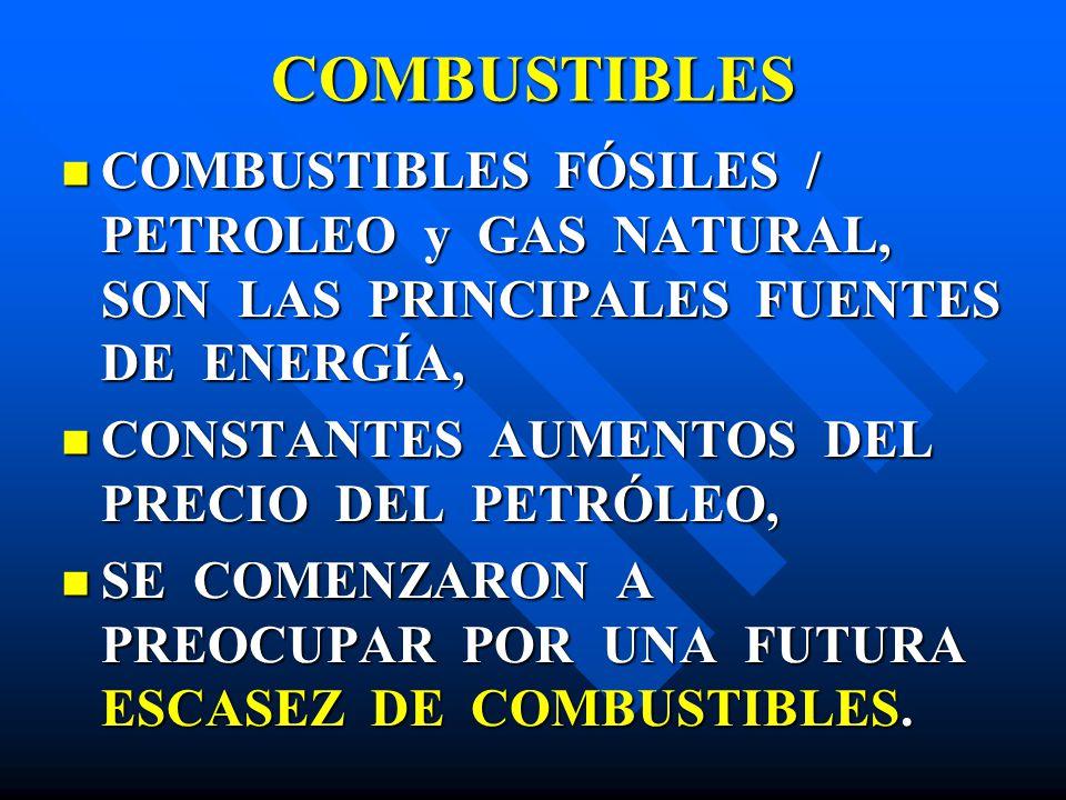 COMBUSTIBLES COMBUSTIBLES FÓSILES / PETROLEO y GAS NATURAL, SON LAS PRINCIPALES FUENTES DE ENERGÍA, COMBUSTIBLES FÓSILES / PETROLEO y GAS NATURAL, SON