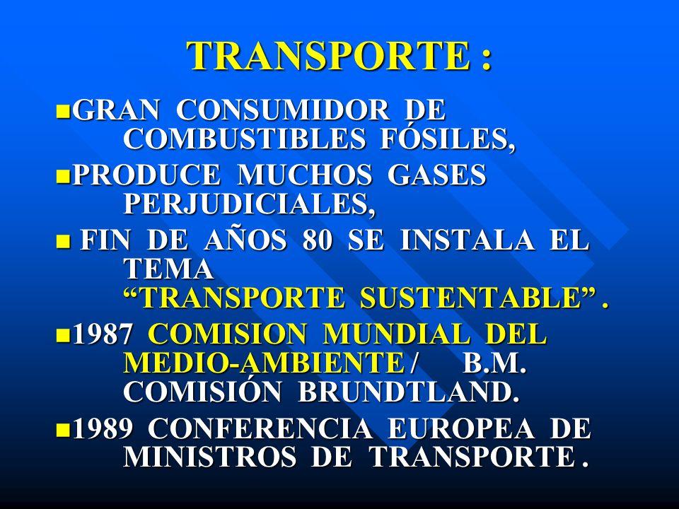 TRANSPORTE : GRAN CONSUMIDOR DE COMBUSTIBLES FÓSILES, GRAN CONSUMIDOR DE COMBUSTIBLES FÓSILES, PRODUCE MUCHOS GASES PERJUDICIALES, PRODUCE MUCHOS GASE