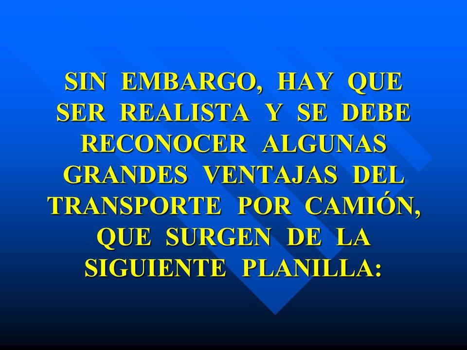 SIN EMBARGO, HAY QUE SER REALISTA Y SE DEBE RECONOCER ALGUNAS GRANDES VENTAJAS DEL TRANSPORTE POR CAMIÓN, QUE SURGEN DE LA SIGUIENTE PLANILLA:
