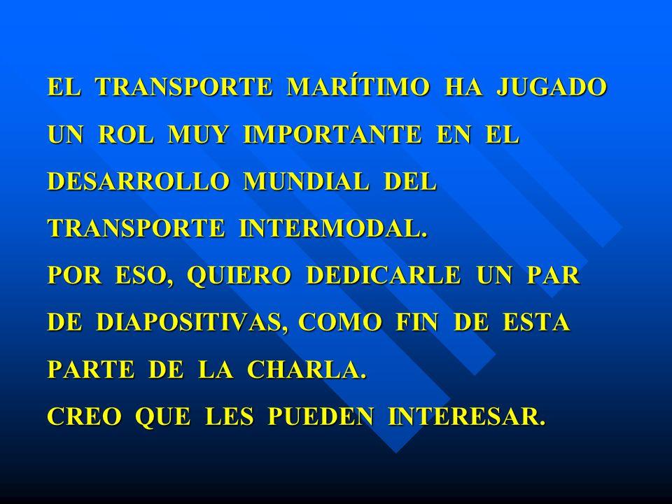 EL TRANSPORTE MARÍTIMO HA JUGADO UN ROL MUY IMPORTANTE EN EL DESARROLLO MUNDIAL DEL TRANSPORTE INTERMODAL. POR ESO, QUIERO DEDICARLE UN PAR DE DIAPOSI