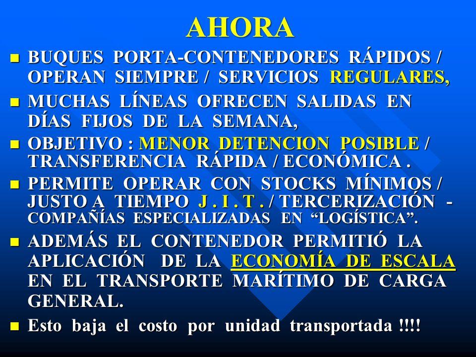 AHORA BUQUES PORTA-CONTENEDORES RÁPIDOS / OPERAN SIEMPRE / SERVICIOS REGULARES, BUQUES PORTA-CONTENEDORES RÁPIDOS / OPERAN SIEMPRE / SERVICIOS REGULAR