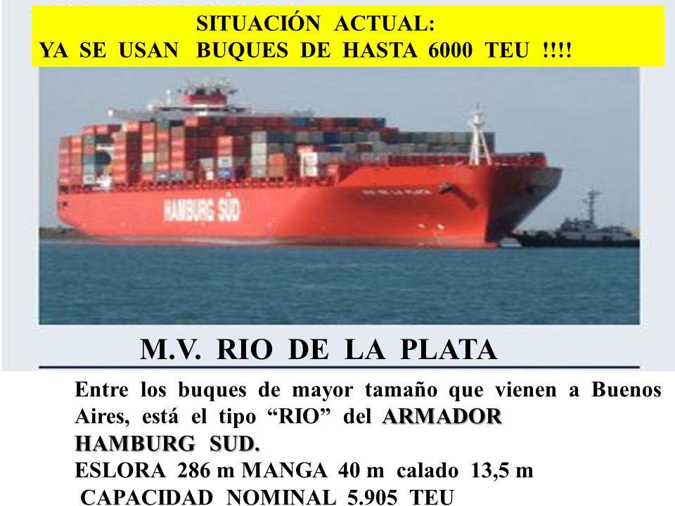138 M.V. RIO DE LA PLATA ARMADOR Entre los buques de mayor tamaño que vienen a Buenos Aires, está el tipo RIO del ARMADOR HAMBURG SUD. ESLORA 286 m MA