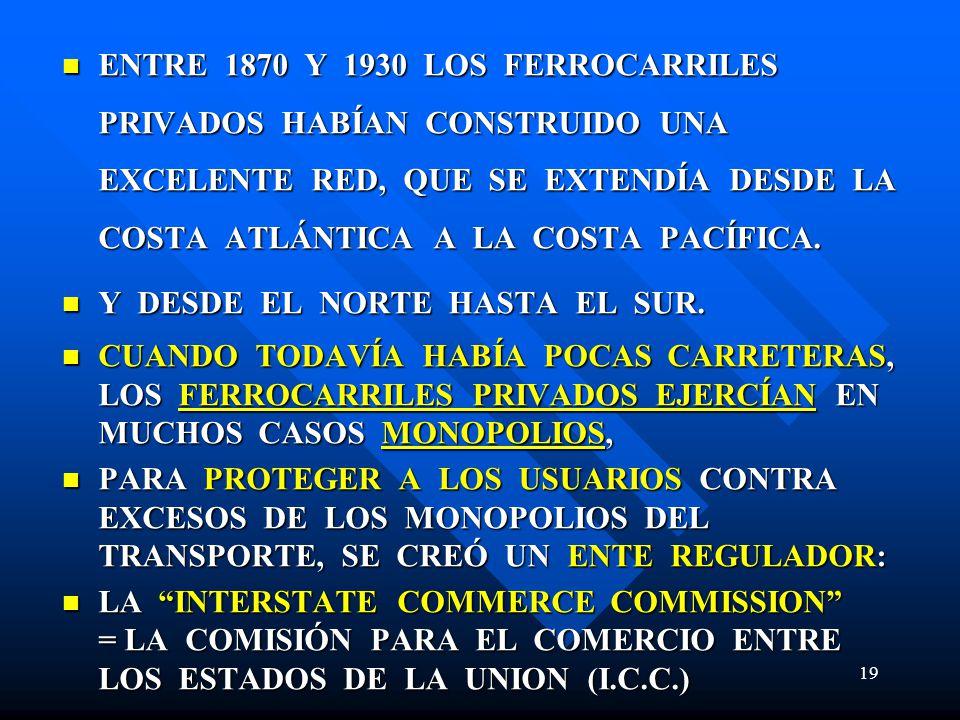ENTRE 1870 Y 1930 LOS FERROCARRILES PRIVADOS HABÍAN CONSTRUIDO UNA EXCELENTE RED, QUE SE EXTENDÍA DESDE LA COSTA ATLÁNTICA A LA COSTA PACÍFICA. ENTRE