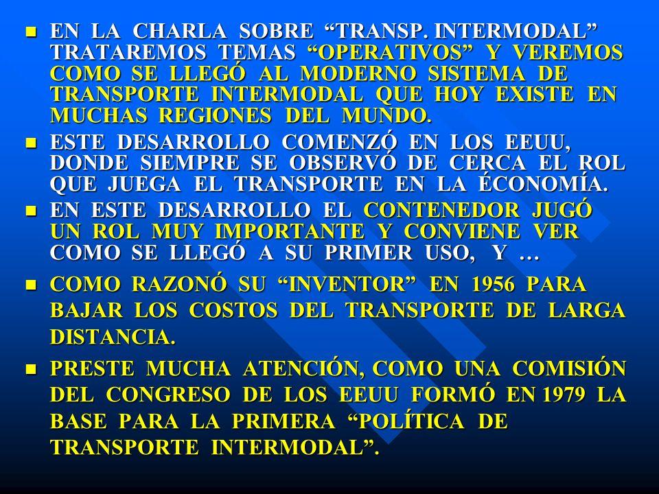 EN LA CHARLA SOBRE TRANSP. INTERMODAL TRATAREMOS TEMAS OPERATIVOS Y VEREMOS COMO SE LLEGÓ AL MODERNO SISTEMA DE TRANSPORTE INTERMODAL QUE HOY EXISTE E