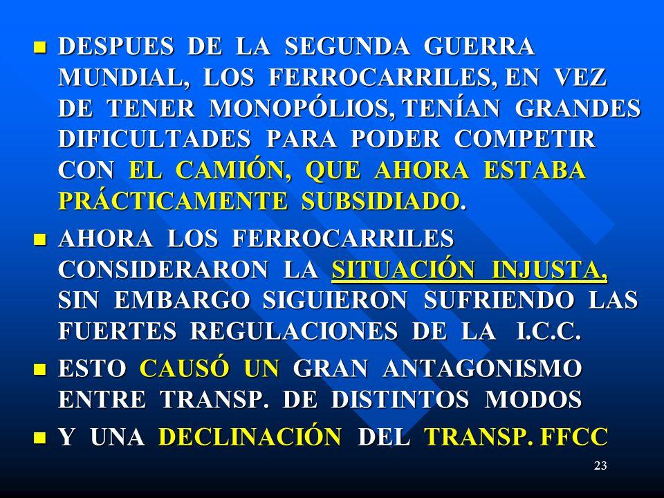 DESPUES DE LA SEGUNDA GUERRA MUNDIAL, LOS FERROCARRILES, EN VEZ DE TENER MONOPÓLIOS, TENÍAN GRANDES DIFICULTADES PARA PODER COMPETIR CON EL CAMIÓN, QU