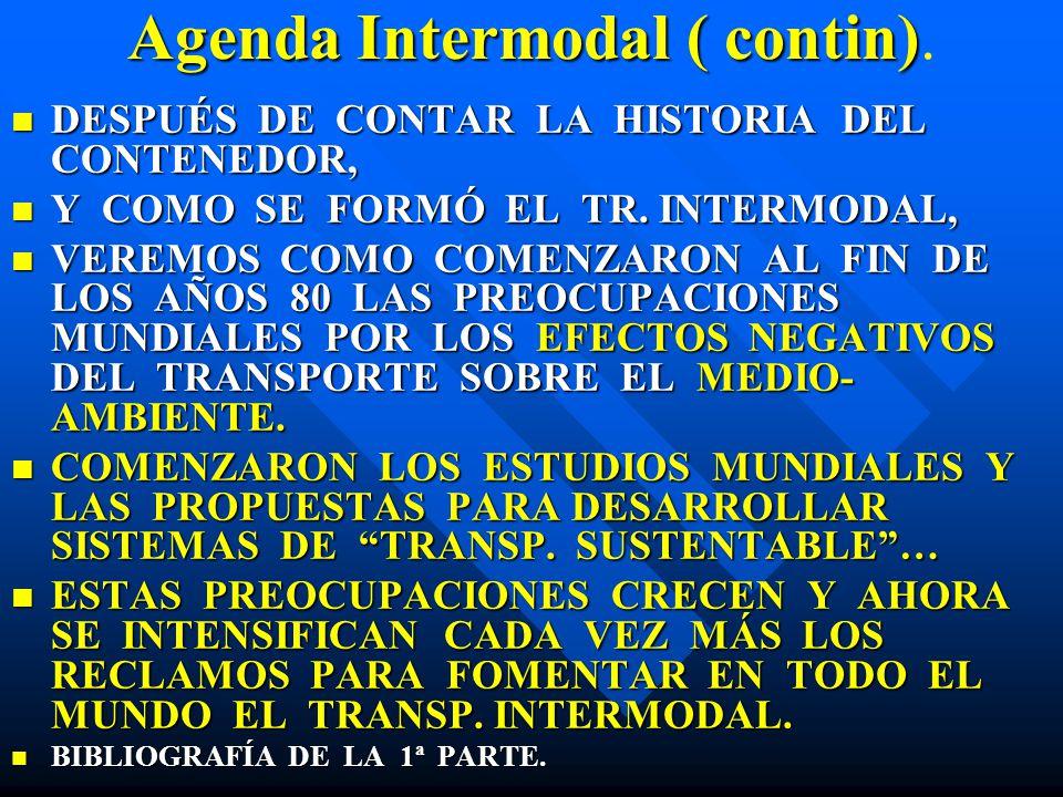 Agenda Intermodal ( contin) Agenda Intermodal ( contin). DESPUÉS DE CONTAR LA HISTORIA DEL CONTENEDOR, DESPUÉS DE CONTAR LA HISTORIA DEL CONTENEDOR, Y