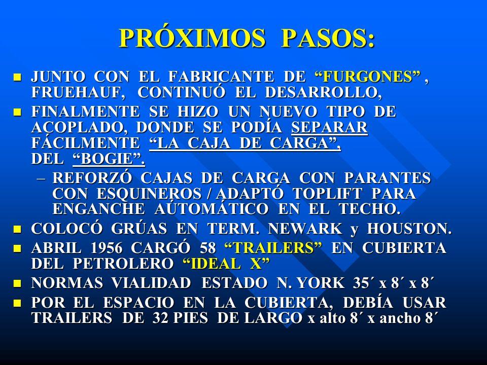 PRÓXIMOS PASOS: PRÓXIMOS PASOS: JUNTO CON EL FABRICANTE DE FURGONES, FRUEHAUF, CONTINUÓ EL DESARROLLO, JUNTO CON EL FABRICANTE DE FURGONES, FRUEHAUF,