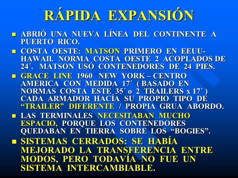 RÁPIDA EXPANSIÓN ABRIÓ UNA NUEVA LÍNEA DEL CONTINENTE A PUERTO RICO. ABRIÓ UNA NUEVA LÍNEA DEL CONTINENTE A PUERTO RICO. COSTA OESTE: MATSON PRIMERO E